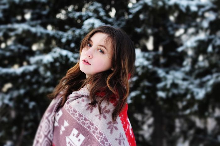 Frends Blue Eyes Brown Hair Beautiful Forest New Year Snow Winter Girl