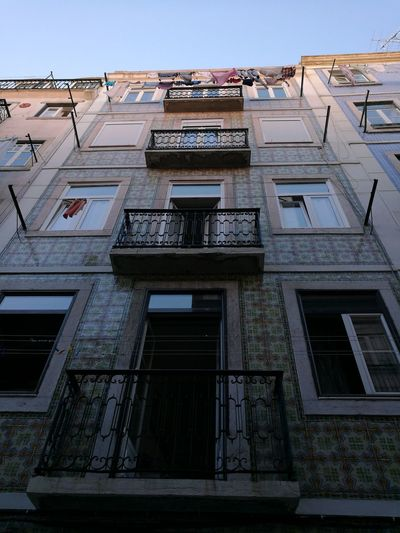 Façade Portuguese Tiles  Architecture No People Low Angle View Residential Building Building Exterior Apartment Outdoors Day Sunlight Blue Color, Balcony City Clear Sky Sky Architecture EyeEmNewHere