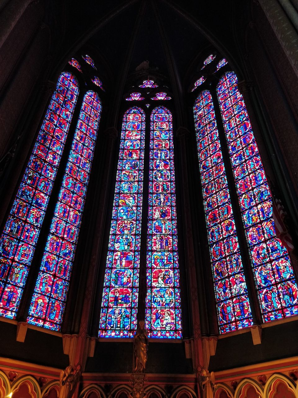 stained glass, glass, window, place of worship, low angle view, built structure, multi colored, architecture, religion, spirituality, glass - material, belief, indoors, building, no people, art and craft, day, ornate, floral pattern, ceiling