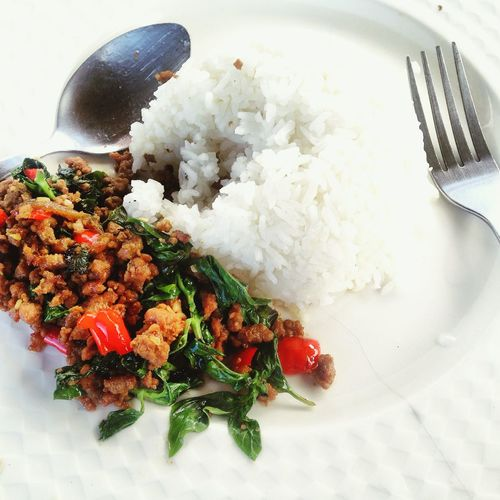 Thailand Close-up Dinner Eating Utensil Food Food And Drink Fork Freshness Healthy Eating High Angle View Indoors  Kitchen Utensil Meal No People Plate Ready-to-eat Rice Rice - Food Staple Serving Size Spoon Still Life Temptation Wellbeing