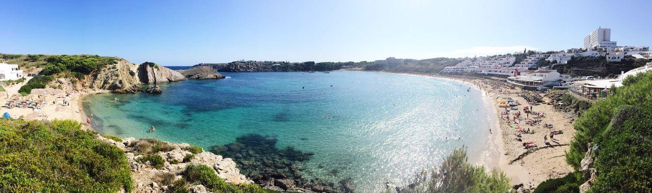 High angle view of calm blue sea