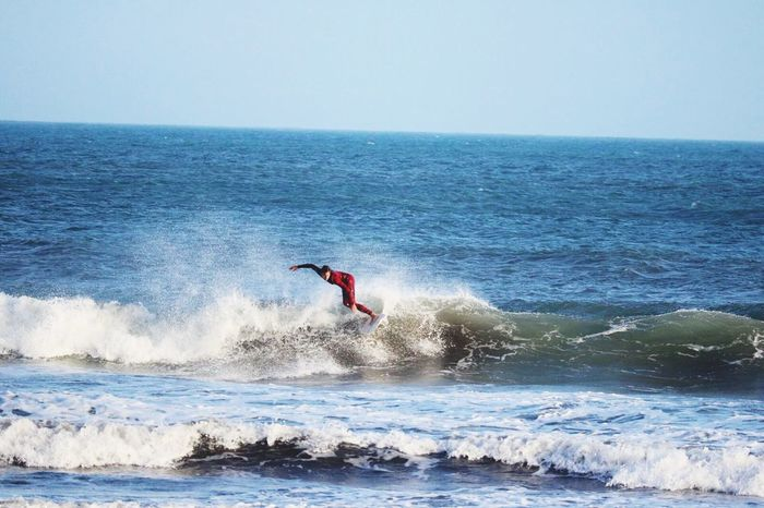 Sea Horizon Over Water Water One Person Wave Surfing Motion