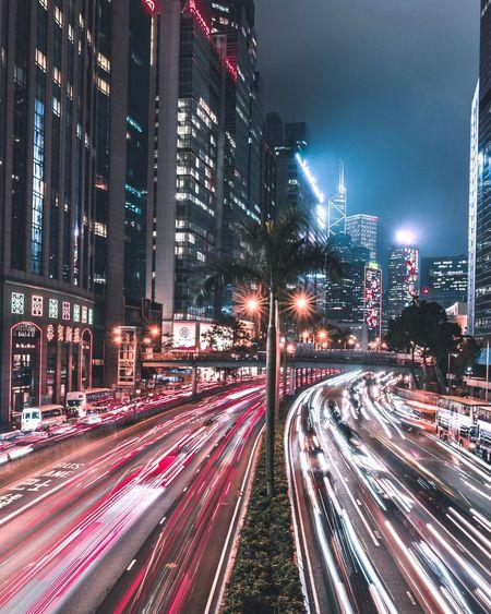 Traffic. Light Trail Illuminated Long Exposure Night Motion Building Exterior Architecture City City Life City Street The Week On EyeEm Cityscape
