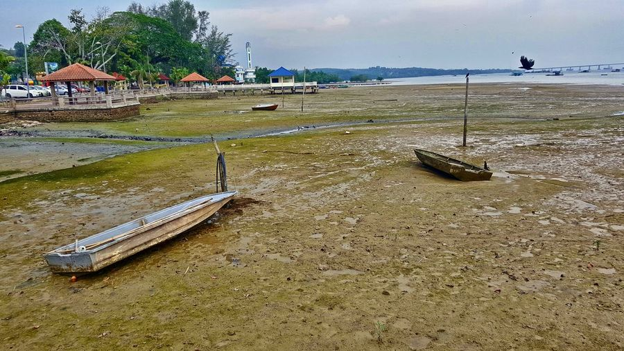 Jetty at Johor, Telok Sengak, Malaysia Scenery Scenics Jetty View Low Tide Revelations Sky Nature Beach Mode Of Transportation Tranquility Beauty In Nature Tranquil Scene Rowboat Sampang