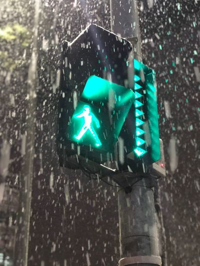 Traffic light IPhoneography Green Light Stoplight Green Color Illuminated No People Day Outdoors Low Angle View Snowing Close-up