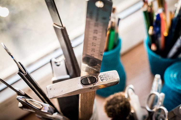 Hammer Handmade Metal Ruler Pencils Ruler Scissors Selective Focus Table Setting Tools Work Tools