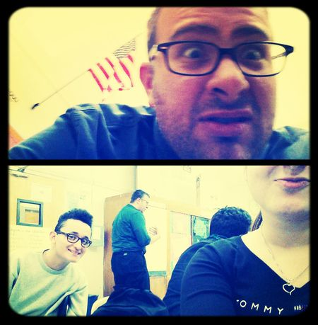 Hi! That's Me Taking Photos Cheese! with the teacher after he took my phone hah
