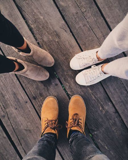 Shoes Boots Family Enjoying Life Thogether Evening Standing