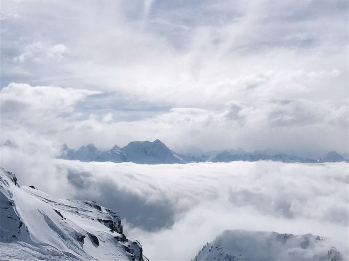 Cloud - Sky Mountain Beauty In Nature Winter Scenics - Nature Sky Cold Temperature Winter Beauty In Nature Snow Environment Tranquility Tranquil Scene Landscape Mountain Range White Color Non-urban Scene No People Day Nature Remote Snowcapped Mountain