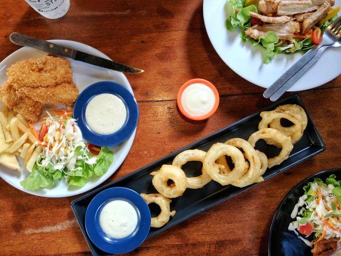 สเต็ก Food High Angle View Food And Drink หัวหอมทอด Ready-to-eat Close-up First Eyeem Photo