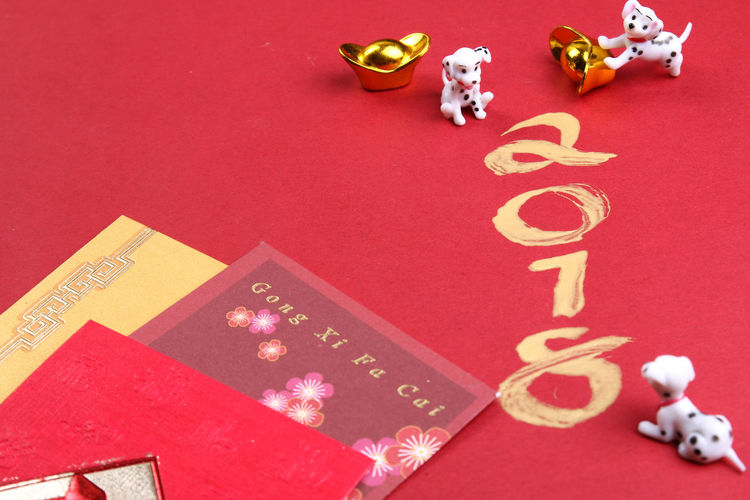 Miniature dogs with chinese new year decorations for year 2018 2018 Dogs Gold Angpow Astrology Calligraph Chinese New Year Decorations Envelopes Packets Zodiac