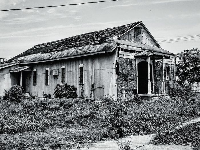 After Hurricane Katrina Affected By The Storm Abandoned House Street Photography Decay And Dereliction Light And Shadow Contrast How Do We Build The World? Climate Change(global Warming) Hurricanekatrina New Orleans No People Side Of The Road Derelict & Abandoned Crumbling Building Telling Stories Differently The Architect - 2016 EyeEm Awards Feel The Journey Mein Automoment On The Way Fine Art Photography Home Is Where The Art Is The Magic Mission Monochrome Photography Adapted To The City Welcome To Black Long Goodbye Resist