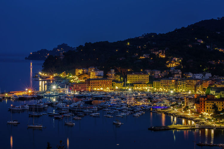 Boats at santa margherita ligure during night