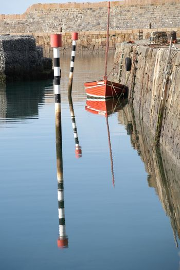 Mooring Banff Harbour Sky And Sea Traditional Harbour Stone Harbour Stone Harbour Reflection Red Boat Painted Pole Reflection Boat