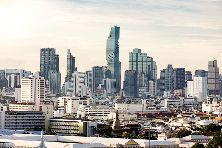 Bangkok city in morning, downtown business building