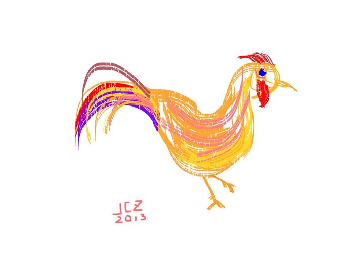 Palette Knife Rooster. Made with Inspire Pro. Drawing Ipadair Inspire Pro Art