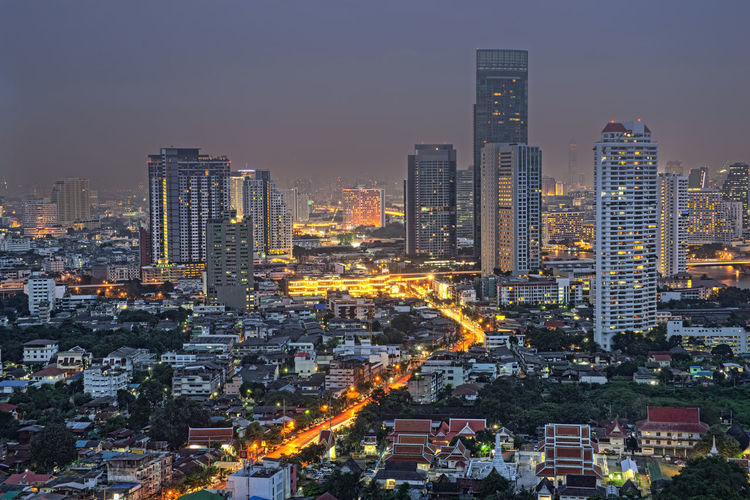 Thailand city scape Building Exterior City Architecture Built Structure Building Cityscape Office Building Exterior Skyscraper Residential District Sky Crowd Illuminated Crowded City Life Tall - High Landscape Nature Urban Skyline Night Tower Modern Outdoors Financial District