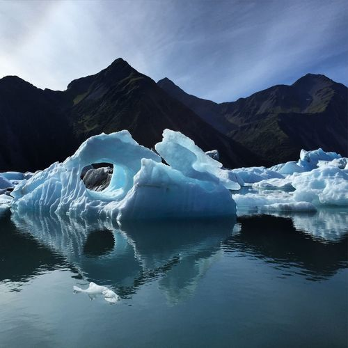 Scenic View Of Glacier Lagoon Lake Against Mountain