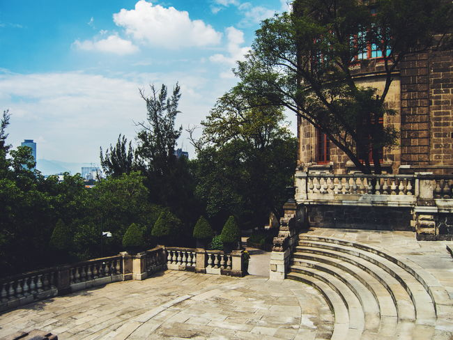 Bosque de Chapultepec Building Exterior Trees And Sky Cityscape Mexico City Mexican Architecture Architecture Mexico City Explore Travel Historical Building Streetphotography Sky And Clouds Clouds Sky Historical Monuments Building Stairs
