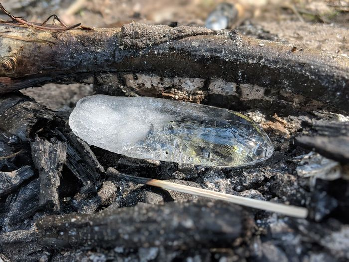 High angle view of ice on burnt wood