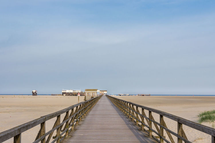Boardwalk Built Structure Diminishing Perspective Horizon Over Water Jetty Long Narrow Nature Pier Railing Sankt Peter Ording Scenics Sea Sky The Way Forward Tranquil Scene Tranquility Vanishing Point Walkway Water Wood - Material