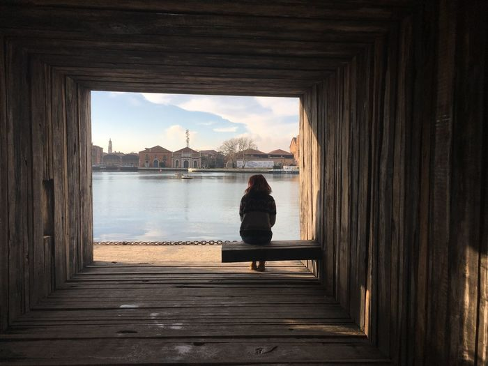 Biennale Architettura Venice, Italy Sitting Full Length Water Architecture Women One Person