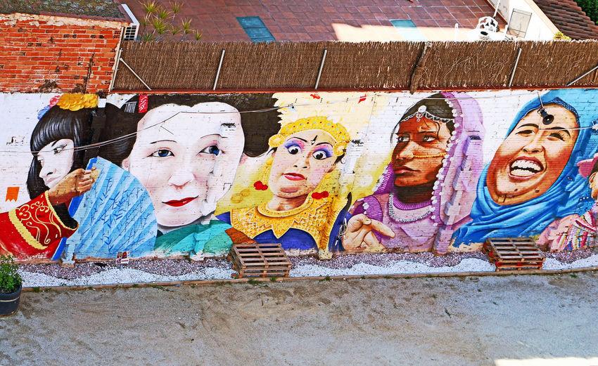 Barcelona3 Cultures Day Female Likeness Human Representation Outdoors Peoplestreet Streetart/graffiti