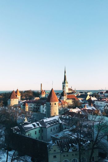 Tallinn Old Town Tallinn Architecture Sky Built Structure Building Exterior Clear Sky Building Copy Space Place Of Worship City Nature Day Town Blue Water No People