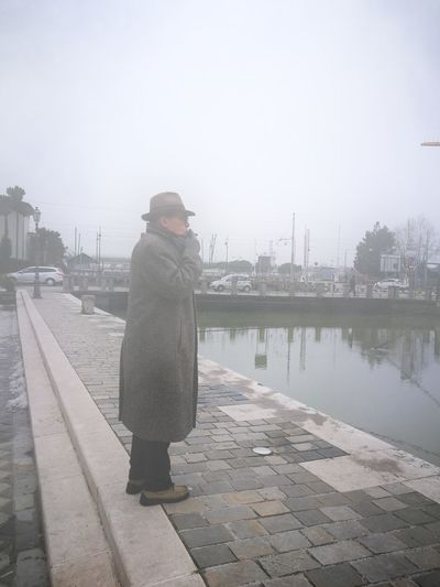 Sigar Boat Canal Warm Clothing City Cold Temperature Water Winter Full Length Portrait Beauty Foggy Footbridge Stories From The City This Is Queer