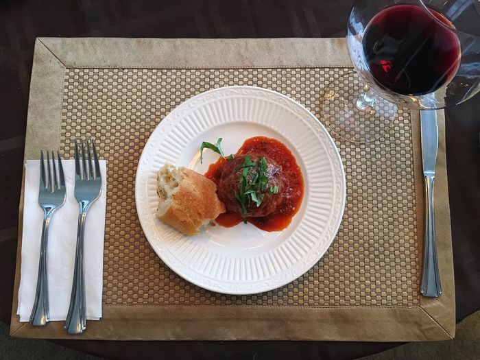 Meatball Small White Plate Italian Food Red Wine
