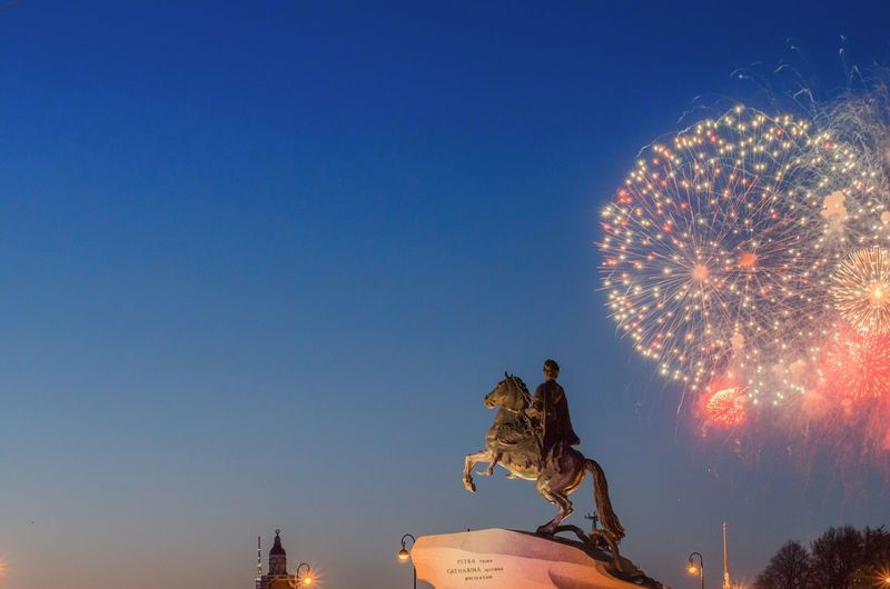 The Bronze Horseman Fireworks Sky Saint Petersburg My Country In A Photo