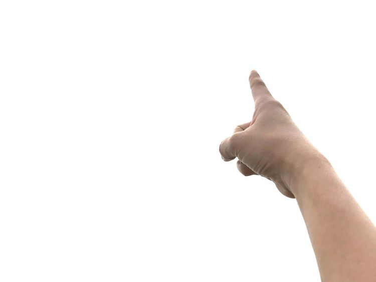 Finger pointing isolated on white background. Finger Pointing Isolated On White Background Human Hand Human Body Part Hand One Person Copy Space White Background Studio Shot Human Limb Indoors  Human Finger Day Real People Lifestyles Men Finger Body Part Personal Perspective Unrecognizable Person Holding Sky