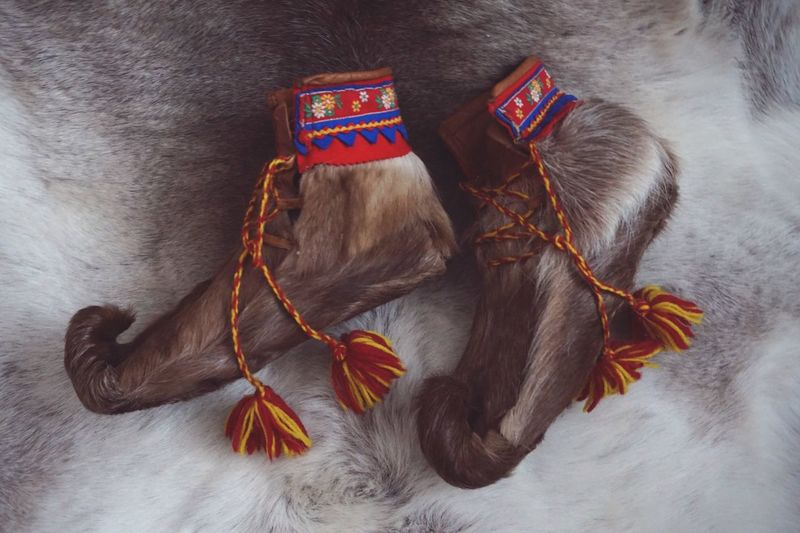 Sami handcrafted shoes of fur Sami Shoes Reindeer Skin Shoes Traditional Clothing Scandinavian EyeEm Selects Studio Shot Close-up