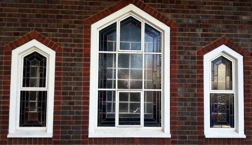 Simple beautiful. Windows Building Brick Wall Bricks Window Glass No People The View White Frame Brown Bricks Windo Shape Daytime Old Design Church Building. 3 Windows Architecture