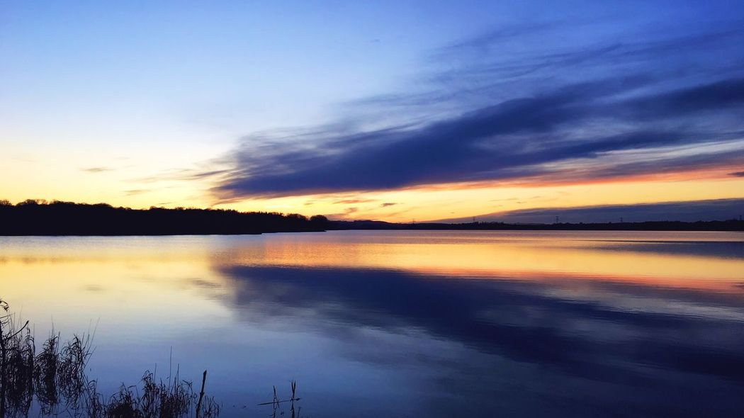 Sunset over Aarslev Engsø, near Aarhus, Denmark. This evening. Sunset Lake Lake View årslev Engsø Aarhus Denmark