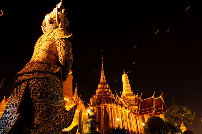 Wat Pra Kaew, on the rare occasion it's open at night Ancient Architecture Buddhism Built Structure Cultures Eye4photography  EyeEm Best Shots Famous Place History Learn & Shoot: After Dark Night Ornate Place Of Worship Religion Spirituality Statue Taking Photos Temple Temple - Building Tourism Travel Destinations Wat Pra Kaew Spotted In Thailand The Architect - 2016 EyeEm Awards