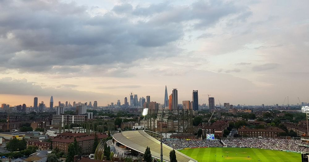 London Panoramic Landscape Panoramic Photography Cricket Field Cricket Match City Cityscape Urban Skyline Modern Skyscraper Business Sunset Downtown District Business Finance And Industry High Angle View