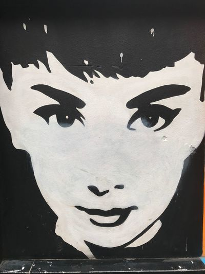 Audrey Hepburn street art Australia Southbank Melbourne Wall Art Black And White Audrey Hepburn Art And Craft Representation Creativity Close-up Craft Human Representation No People Face Wall - Building Feature Black Color Arts Culture And Entertainment Mural Wall