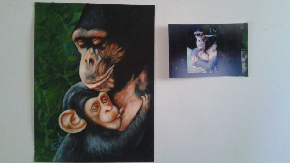 """Mother and her son,this is for you animal lovers this is a love story just like our love story a human mother with her son but love is the same for us and for our tresuresd animals.oil on canvas 14""""_20"""" , Love Of A Mother Animals Love♥ Family My Art Collection Original Art Drawing ArtWork Oil Painting Beauty In Nature Art, Drawing, Creativity Fine Art 3XSPUnity 3XSPhotographyUnity My Best Friends ❤ Portrait Friendship. ♡   Love ♥ Koi."""