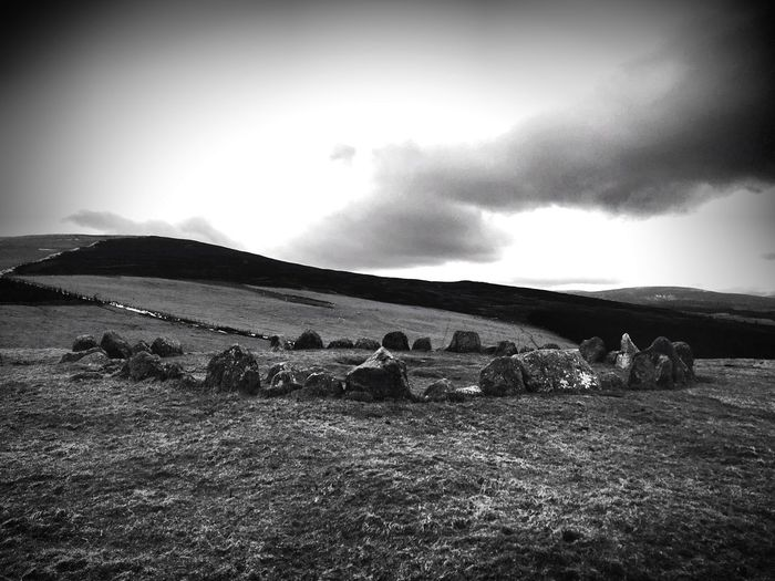 Black And White Wales Stone Circle Sky Landscape No People Nature Cloud - Sky Tranquil Scene Outdoors Beauty In Nature Mountain Tranquility Scenics Day