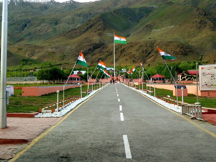War memorial always there for the respect of the soldiers who sacrifice their life for protecting others... Flag Outdoors Mountain Day No People Landscape Tree Sky Kargil JammuandKashmir KargilWarMemorial Kargilvijaydiwas