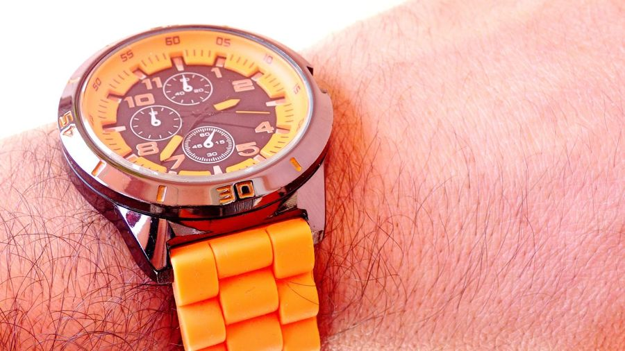 What time is it, it is time to: Circle Clamp Orange Clock Clock Face Close-up Day Hand Low Angle View Number Orange Orange Clamp Part Of Pointers Time Watch