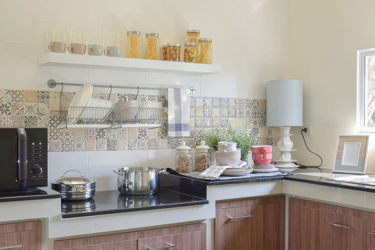 View of kitchen counter at home