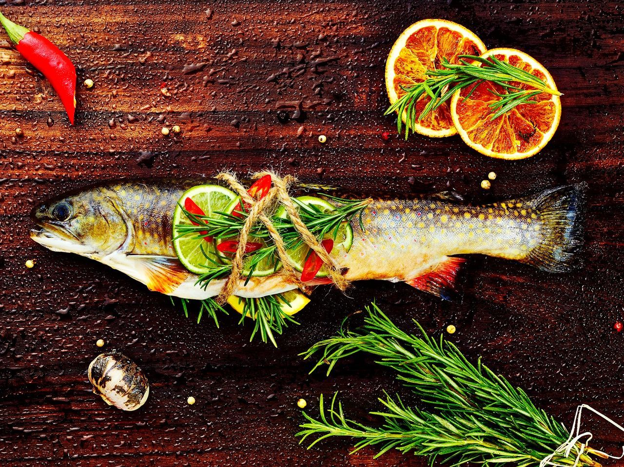 Directly Above View Of Fish On Table