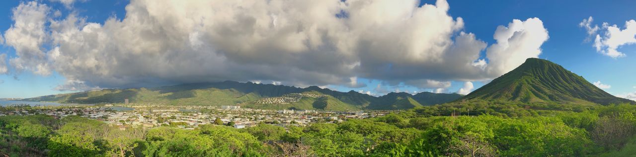Hawaii Oahu, Hawaii Panoramic Cityscape Hills And Valleys Lush Vegetation Cone Shaped Mountain Cloud - Sky Sky Scenics Beauty In Nature Nature Day Tranquility Landscape Tranquil Scene No People Outdoors Architecture