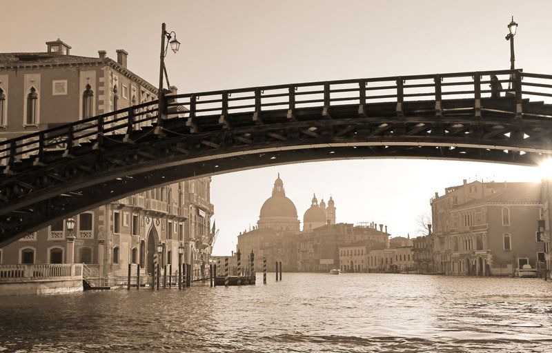bridge in Venice Italy called Ponte della Accademia and the Church of Madonna della Salute on background with sepia toned effect Canal Grande Grand Canal Ponte Accademia Postcard Travel Venezia Venice, Italy Architecture Bridge Bridge - Man Made Structure Building Exterior Built Structure Clear Sky Effect Italy Outdoors Ponte Dell Accademia Ponte Dell'Accademia Sepia Toned Travel Destinations Venice Vintage Water Waterway