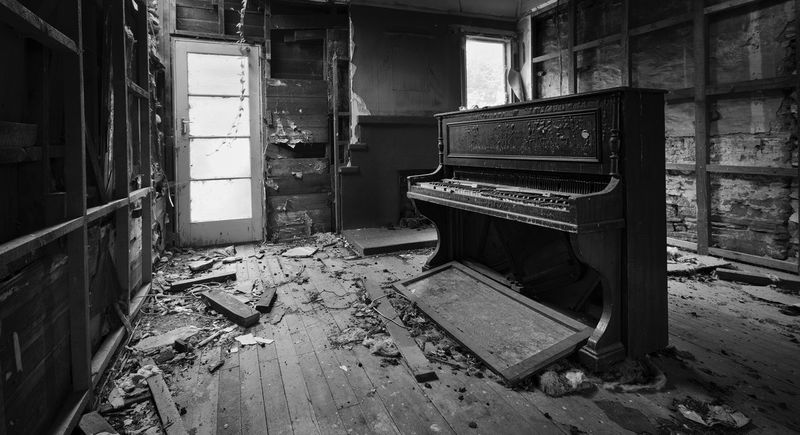 Piano in old abandoned fire-damaged house. Abandoned & Derelict B & W  B&w Black And White Damaged Fire Damaged Building Fire Damaged House Old Piano Piano Moments