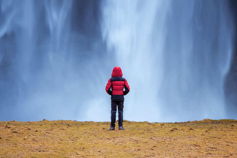 Seljalandsfoss waterfall in Iceland. Guy in red jacket looks at Seljalandsfoss waterfall. Activity Adult Casual Clothing Day Full Length Hiking Hood Hood - Clothing Land Leisure Activity Lifestyles Men Nature One Person Outdoors Real People Rear View Red Standing