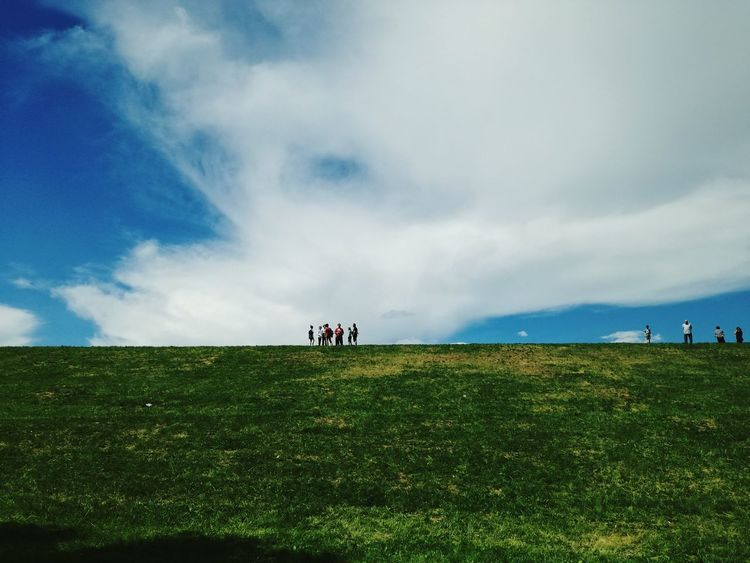 Sky Field Cloud - Sky Grass Day Nature Large Group Of People Beauty In Nature Landscape Adult Outdoors People