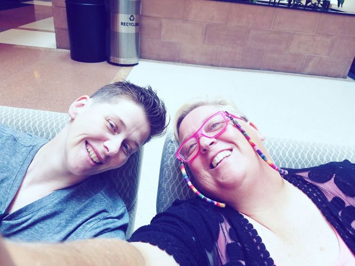 Nikki and I at my Doctor's office Lesbian Smiling Happy Lgbt Friendship Togetherness Women Happiness Smiling Blond Hair Relaxation Lying Down Wife Falling In Love Mature Couple Self Portrait Selfie Married